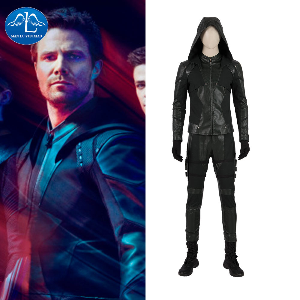 Green Arrow Cosplay Oliver Queen Blackish Green Suit Halloween Costume For Men DC Arrow Season 8 TV Series Leather Coordinates