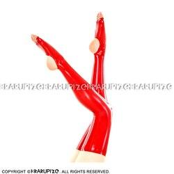 أحمر مثير لاتكس طويل جوارب مع الكعب المفتوح وأصابع القدم المطاط الفخذ العليا جوارب WZ-0051