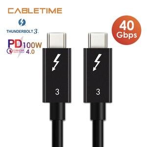 Image 1 - CABLETIME Thunderbolt 3 kabel USB typu C certyfikat PD 100W kabel 40 gb/s 5A/20V Super ładowania dla Dell XPS Razer Macbook Air N320
