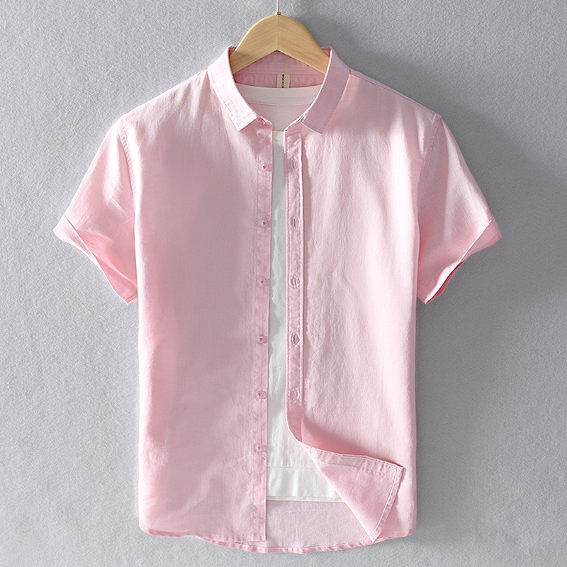 Summer Cotton Linen Short Sleeve Shirts Men Casual Fashion Pink Classic Turn-down Collar Man Tops Plus Size S-4XL Y2469