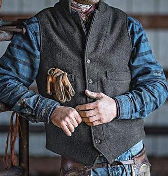 Men's Suit Vest Autumn Suit Vest Men Jacket Sleeveless Elegant Vintage Tweed Vest Fashion Spring Autumn Plus Size Waistcoat 2020