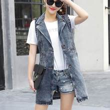 long section sleeveless denim vest waistcoat vest female spring and summer Hot large size ladies coat DF230(China)
