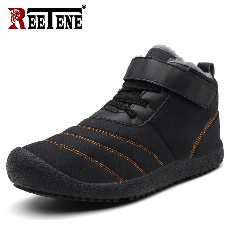 REETENE Sapatos de Inverno Tornozelo Botas De Neve Homens Botas de Inverno Dos Homens Para Os Homens Das Sapatilhas Amantes Casal Botas De Pele À Prova D' Água Sapatos Rebanho