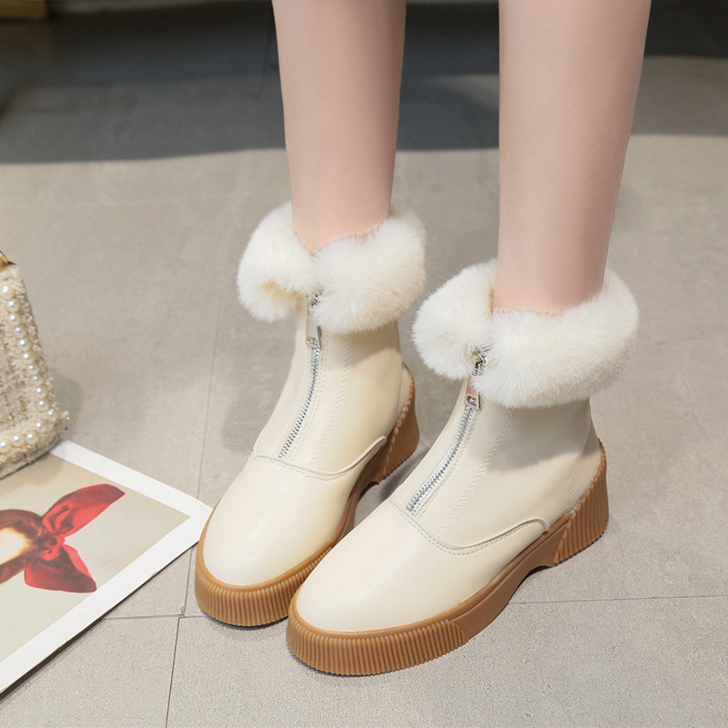 Women Short Ankle Boots Winter Plush Warm Thick Bottom Platform Round Toe Students Leisure Flat Ankle Snow Boots Botas Mujer 34