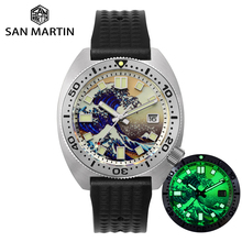 San Martin Diver 6105 Wave 3D Printing Full Luminous Kanagawa Surfing Dial NH35 Automatic Mechanical Men Watch Sapphire Date