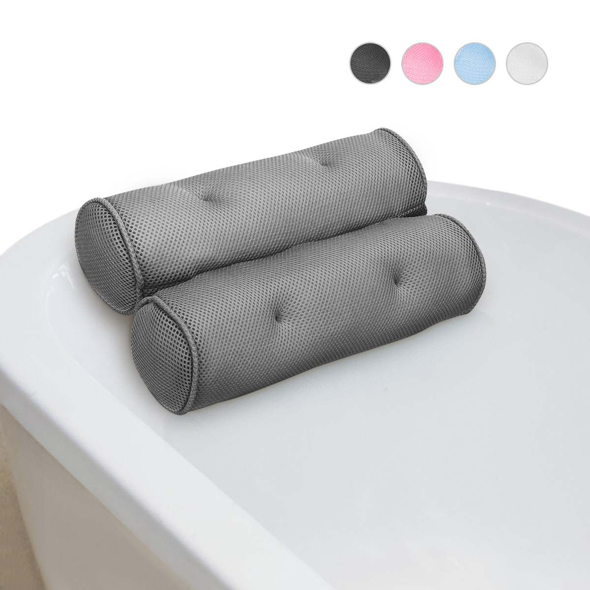4 Colors Bath Pillow with Suction Cups Neck Support Bathtub Cushion Breathable 3D Mesh Spa Pillow Tub Bathroom Accersory