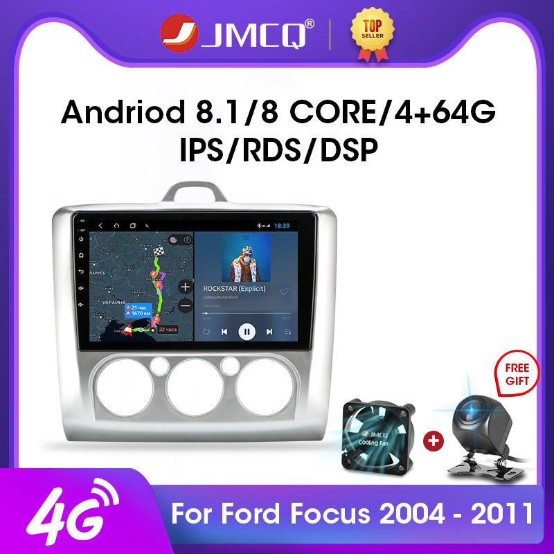 JMCQ 2din Android 9.0 Car Radio Multimidia Video Player Navigation GPS RDS For Ford Focus 2 3 Mk2/Mk3 2004-2011 2 Din Head Unit image