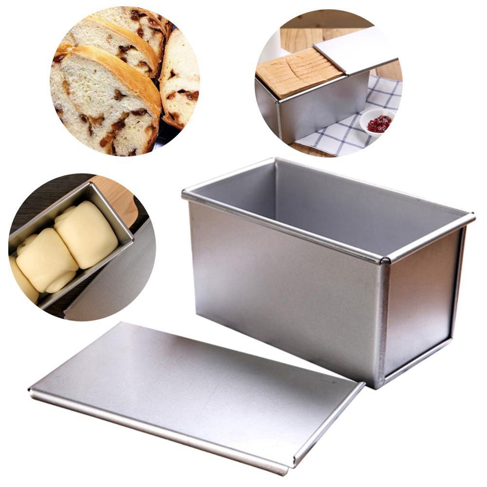Dikdörtgen ekmek kalıbı tost kutusu pişirme kek sandviç kalıpları küçük yapışmaz körük kapağı pişirme araçları fransız ekmek fırında fırın