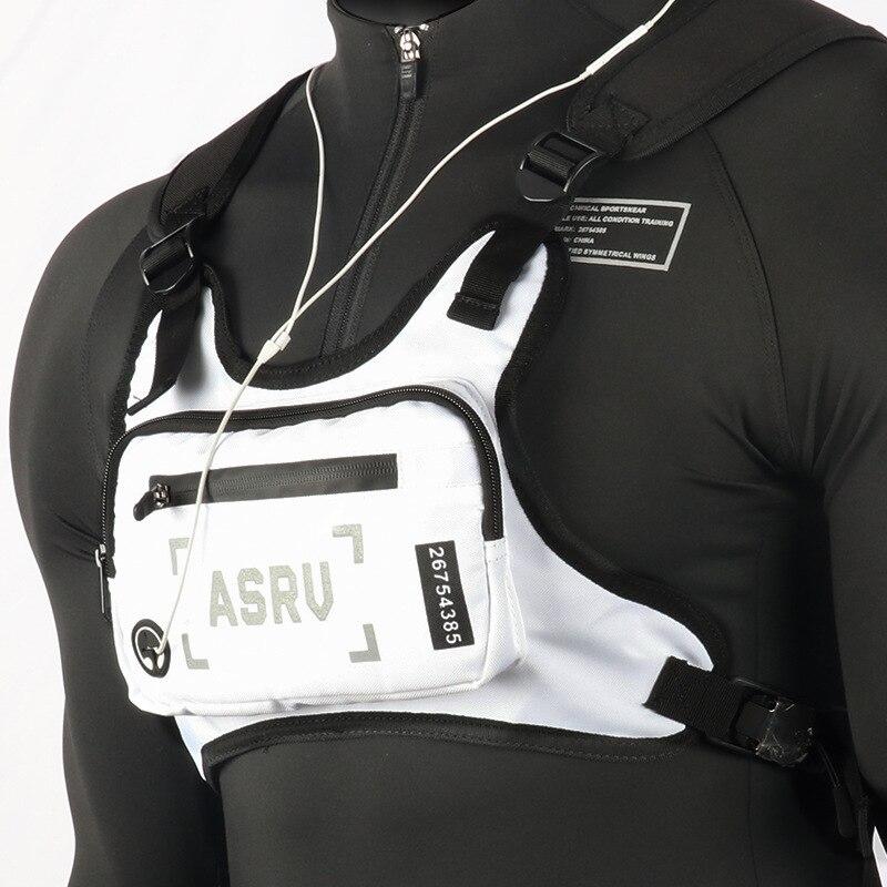 Men Fanny Packs Outdoor Cycling Equipment Chest Bags Nylon Waterproof Reflective Strip Male Sports Waist Belt Bags Shoulder Bag