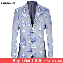 PAULKONTE 2019 big size 38R-48R Blazer Men Print Sea design Suit Jacket Blue Casual Blazer loose Plus Size men coat jacket plus size letter print pocket design coat