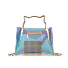 Laser Transparent Bags PVC Waterproof Beach Bag Cat Design Composite Crossbody Clutch Purse Mini Small Handbag