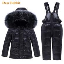 Г. Зимний комплект одежды для маленьких мальчиков и девочек, теплая пуховая куртка, пальто детский зимний комбинезон, парка детская одежда с натуральным мехом лыжный комбинезон, пальто