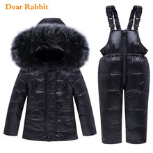 2019 Winter Baby Boy Girl clothing Set warm Down Jacket coat Snowsuit Children parka real fur Kids Clothes Ski Overalls overcoat(China)