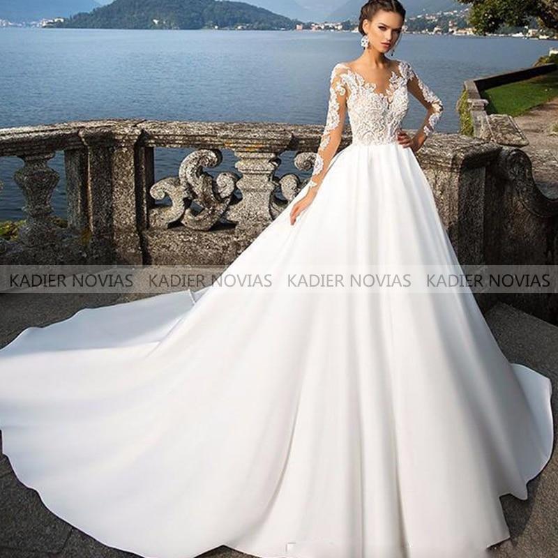 Kadier Novias одежда с длинным рукавом Белое Бальное Платье, из прозрачной ткани свадебное платье 2021 свадебное бохо-платье Vestido De