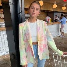Hugcitar 2019 long sleeve tie dye blazer casual autumn winter women cardigan streetwear outifts windbreaker tops