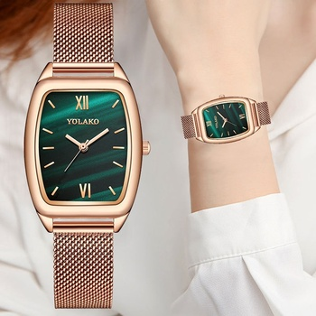 Luxury Women Green Dial Bracelet Watch Ledies Quartz Watch Clock Fashion Mesh Belt Rose Gold Creative Dress Watches image