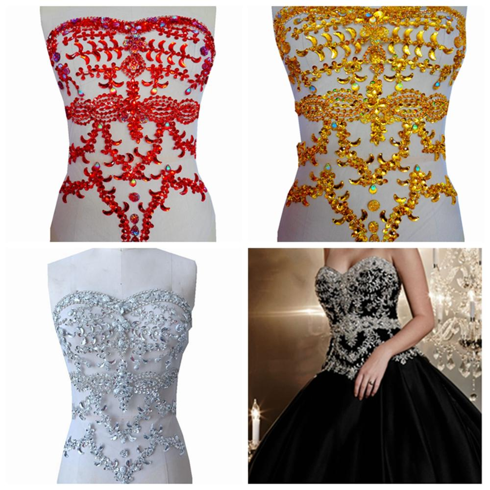 Free Shipping Handmade Silver/red/gold  Crystal  Patches Sew On  Rhinestones Applique On Mesh With Stones Sequins Beads 40*32cm