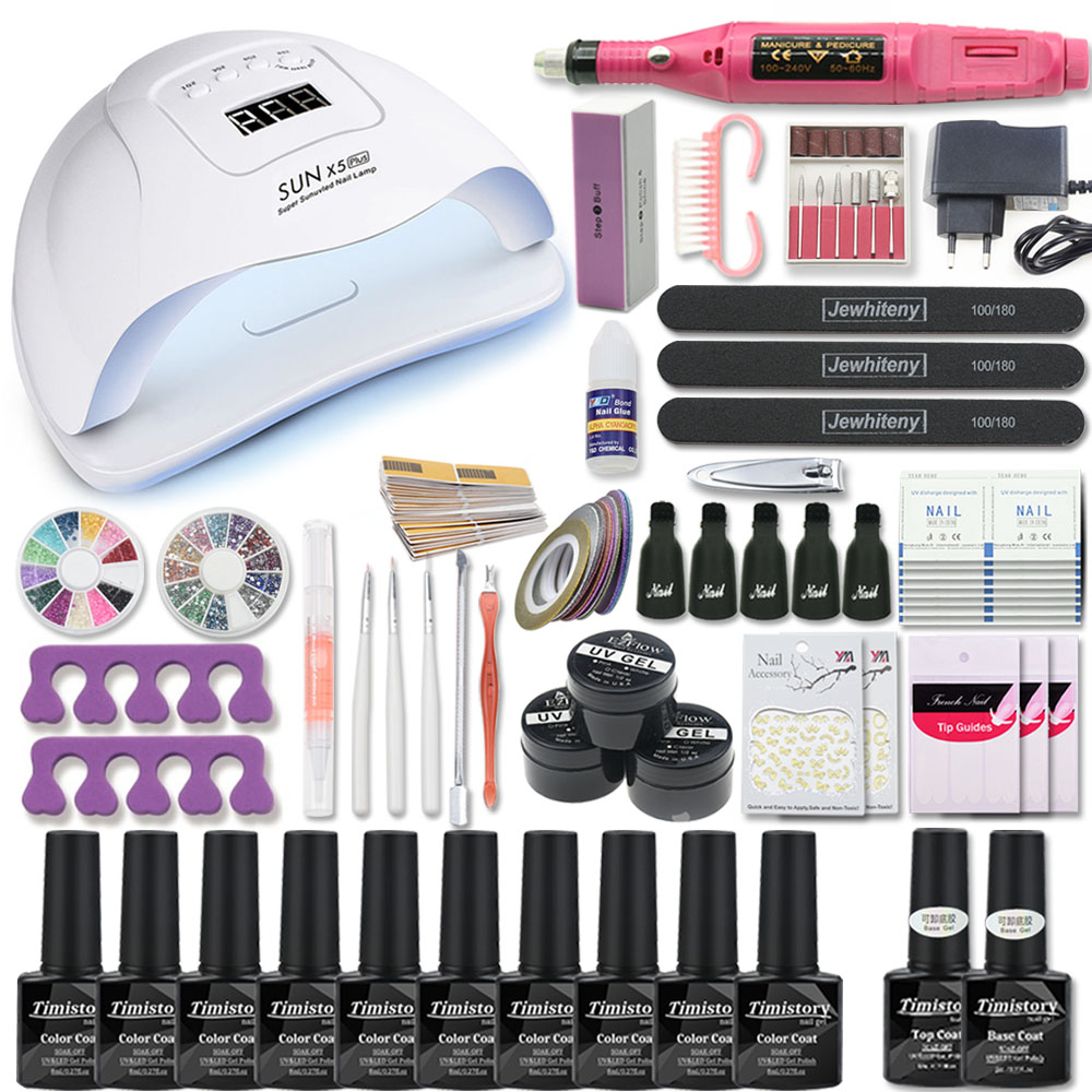 Manicure Set For Nail Kit 80W/54W/36W UV Lamp 10 Color Gel Varnish Set Nail Drill Machine Kit Nail File Tool  Nail Extension Set