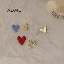 AOMU-pendiente de corazón de amor asimétrico para niña, aretes de Metal asimétricos, coloridos, estilo coreano, Color de contraste Irregular, 2020