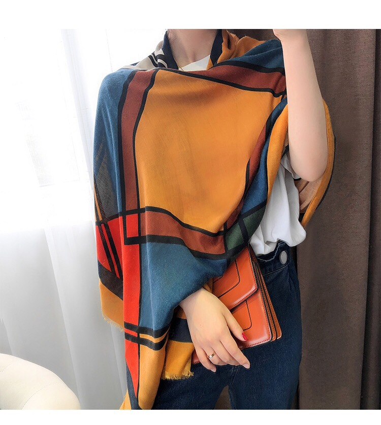 Classic Cotton Scarf Women Silk Scarves Fashion Autumn Winter Warm Print Designer Black Shawl Factory Wholesale Direct Sales