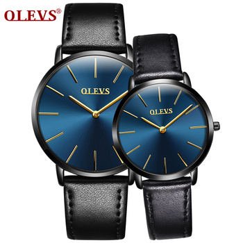 OLEVS Luxury Couples Quartz Watch Wristwatch for Women Men 30M Water Resistant Leather Strap