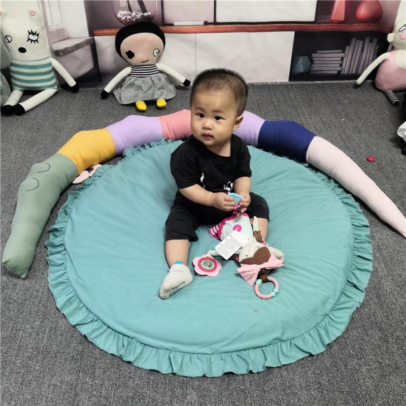 H7d21ccf075f247b3b7eb4e63382ad5e6R Baby play mat infant playmat Ruond Cotton Crawling Mat kids Game Rugs Children Room Floor Carpet decorative mats Photo Props