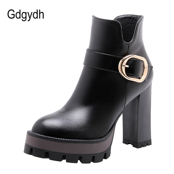 Gdgydh Spring Luxury Shoes Women Boots Designer Thick Heel Platform Female Ankle Boots Sexy Buckle Comfortable Round Toe Boots цена 2017