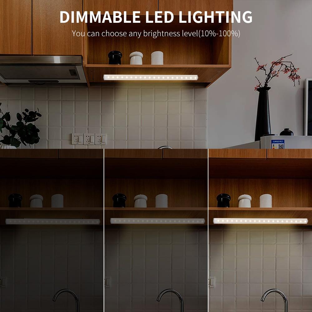Image 4 - BORUiT 40 см 40 светодиодная подсветка под шкаф для кухни спальни с регулируемой яркостью ночной Светильник USB Перезаряжаемый беспроводной Шкаф светильник s-in Подшкафные лампы from Лампы и освещение on AliExpress