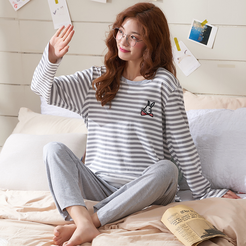 New Arrival Big Size Sleepwear Rabbit Stripe Print Pajamas Sets Women Casual Pajamas Women Long Sleeve Shirt Nighty Nightwear3XL