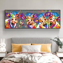 Cartoon Colored Cow and Butterfly Abstract Art Animal Canvas Prints Kids Room Decoration Paintings for Interior Wall Art Picture
