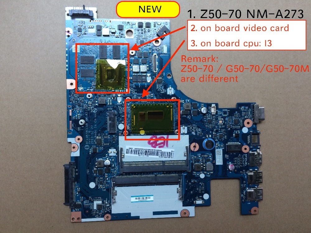 Original ACLUA ACLUB NM-A273 Board For Lenovo Z50-70 Motherboard I3-4005 I3-4030 CPU 820M 2G GPU