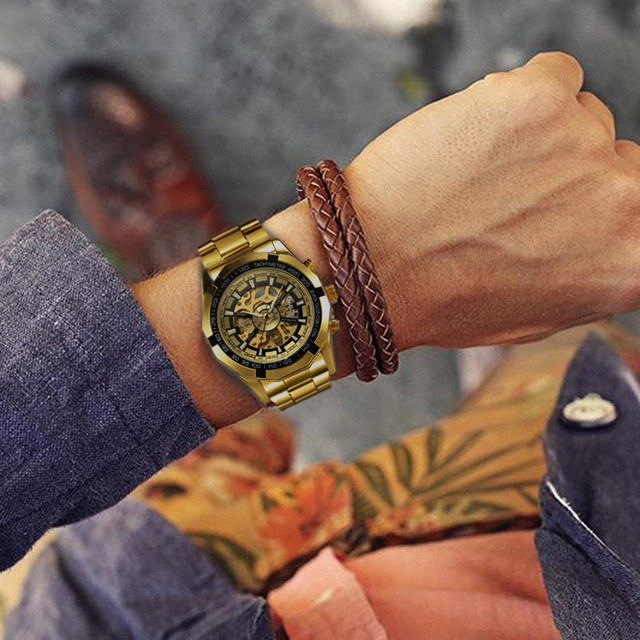 Automatic Mechanical Watch Gold Skeleton Vintage Man Watch