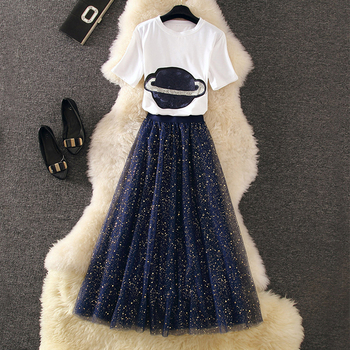 Planet & Stars Tee and Tulle Skirt Two Piece Set 1