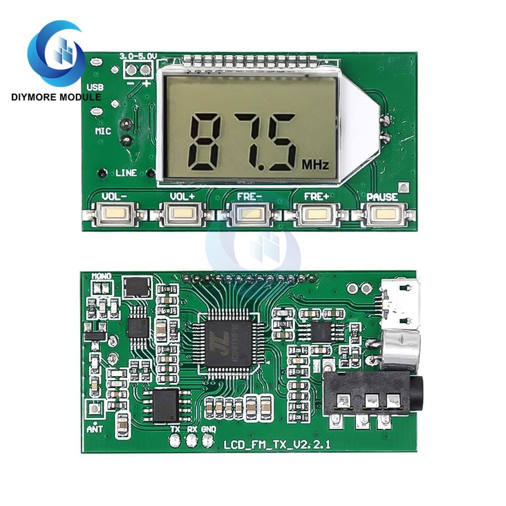 Модуль fm-передатчика DC 3-5V DSP PLL 87-108MHz частота ЖК-цифровой дисплей с беспроводным микрофоном аудио передачи