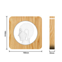 Buddha Face 3D USB LED Arylic ABS Lamp Table Light Switch Control Carving Lamp for Children's Room Decoration Dropshipping