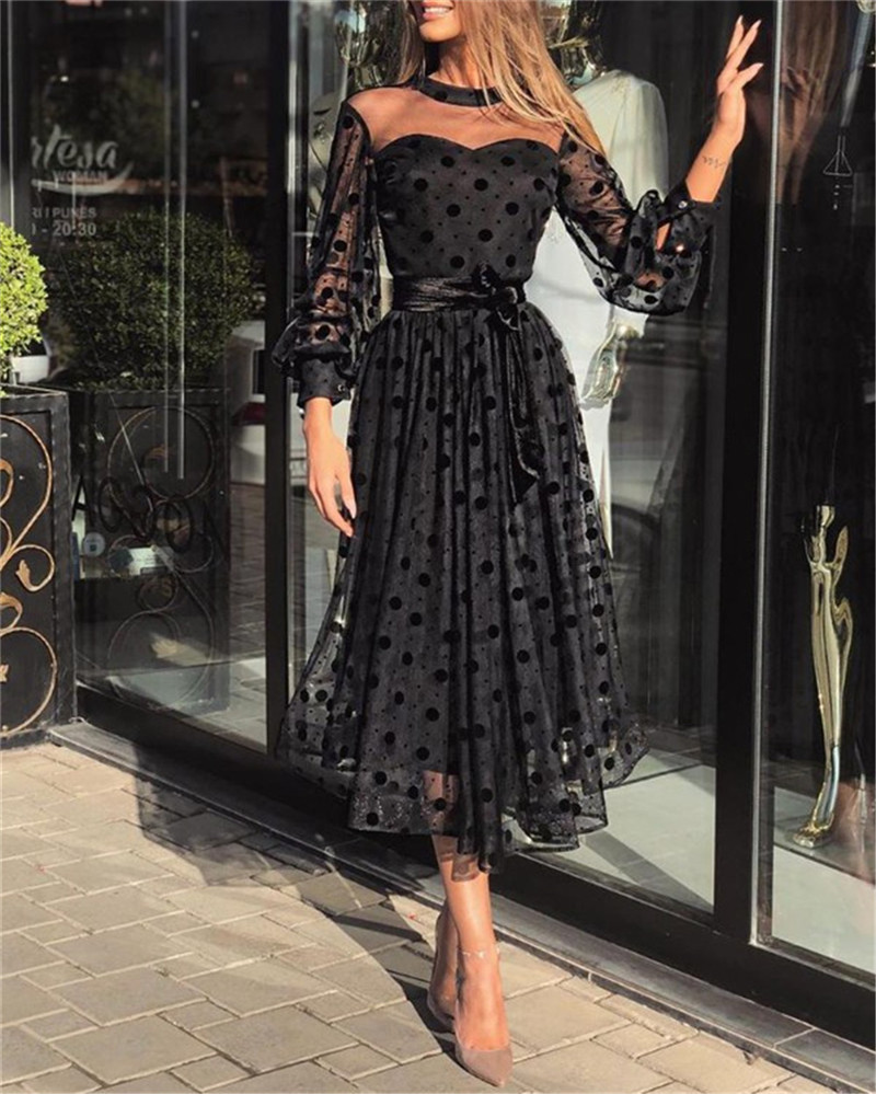 Women Sexy Lace Mesh Sheer Dresses Fashion Ladies Polka Dot Long Sleeve Evening Party Tulle Midi Gown Dress