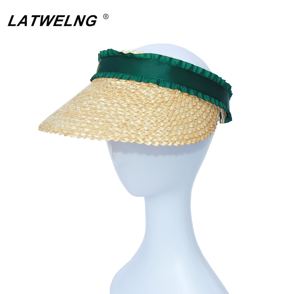 2020 Design Lotus Leaf Ribbon Visor Hats For Women Summer Straw Sun Beach Hats Girls Empty Top Hairpin Caps 6 Colors Wholesale