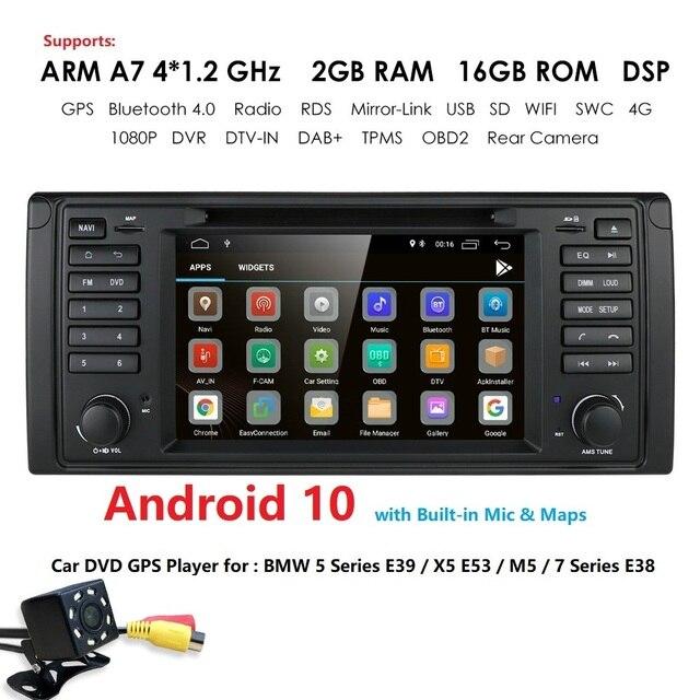 Ips dsp 2グラム + 16グラムandroid 9.0カーdvd gpsのbmw 5シリーズE39 X5 E53 M5 7シリーズE38マルチメディアプレーヤーステレオラジオautomotivo bt