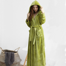 Men Winter Plus Size Long Coral Fleece Bathrobe Kimono Warm Flannel Bath Robe Men Cozy Robes Night Sleepwear Women Dressing Gown cheap Polyester Solid Ankle-Length Full