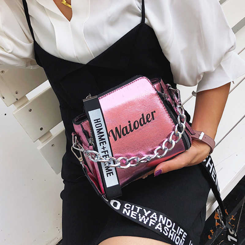 ขายแฟลชเลเซอร์ผู้หญิงไหล่กระเป๋า INS หญิงกระเป๋าถือวันหยุด PU Messenger กระเป๋าสำหรับสุภาพสตรีประณีต Crossbody