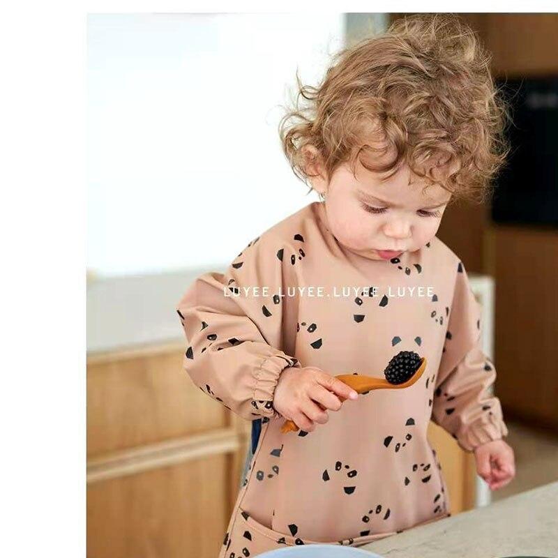 EnkeliBB Водонепроницаемый нагрудник, модная одежда для детей с длинными рукавами с рисунком героев из нагрудники для кормления с милыми котятами вишня с принтом динозавра 6