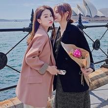 Retro Korean Pink Ladies Blazer Simple Loose Casual Suit Jacket Long Sleeve Stylish Spring Autumn Women Party Blazer MM60NXZ
