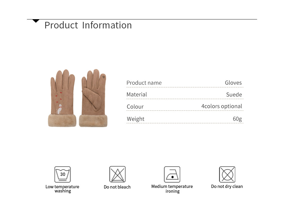 Winter Women Touch Screen Gloves with Embroidery made with a Special Conductive Fabric into Finger Tips for fast Navigation of All Touch Screen Device 9