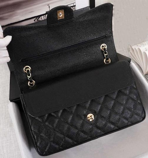 Classique dames luxe sac à main qualité sac à main en cuir caviar célèbre concepteur chaîne en or chaîne en argent femelle diagonale paquet