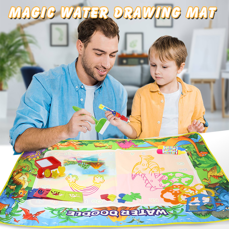 2020 New Arrivals Dinosaur Theme Water Drawing Mat & Pens & Stamp Kids Painting Board Doodle Rug Educational Toy Birthday Gift