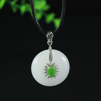Xinjiang Natural White Jade Peaceful Button 925 Silver-inlaid Jade Pendant Gold Silk Jade Ancient Necklace Pendant