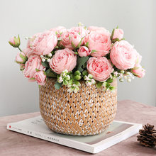 Home Decoration Simulation Fake Flower Small Handle Bunch of Roses Wedding Decoration Simulation 5 Persian Roses