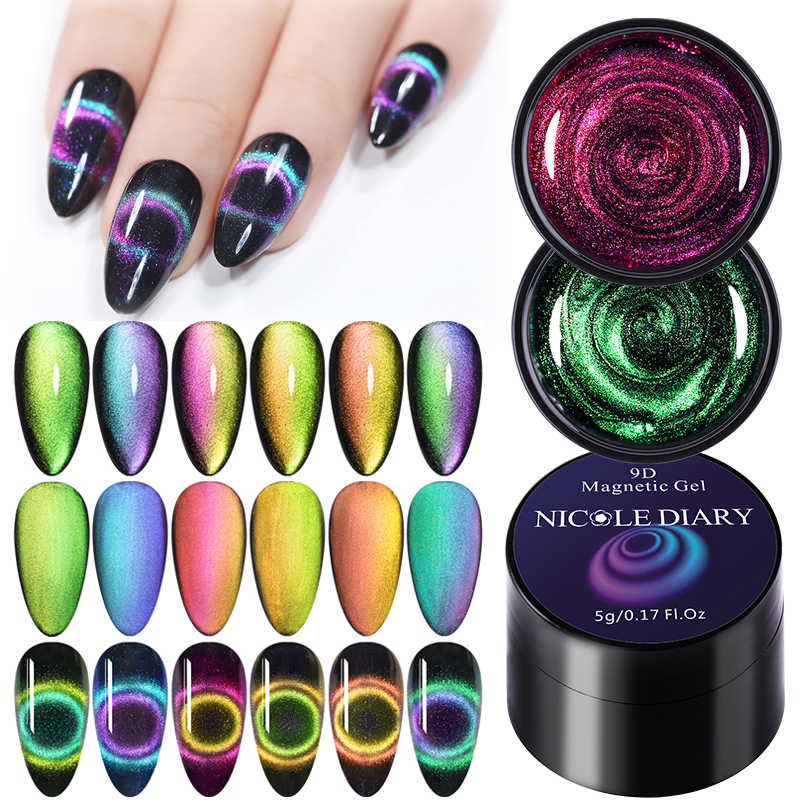 Nicole Diary 9D Galaxy Cat Eye Nail Gel Chameleon Magnetic Rendam Off UV LED Nail Polish 5 Ml Semi permanen Gel Varnish