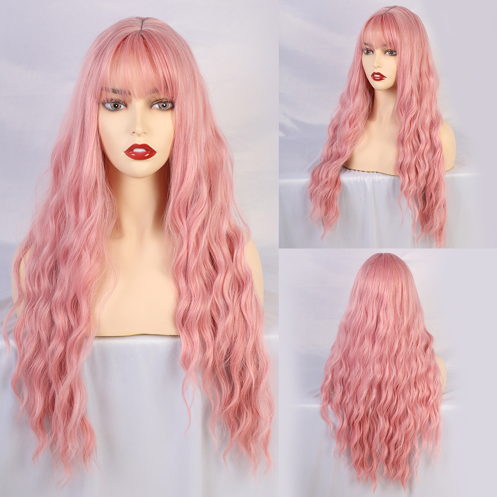 Blonde Unicorn Water Wave Synthetic Womens Long Hair Pink Wigs With Bangs Cosplay Party Costume Wigs For Women African American