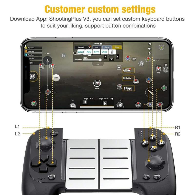 New <font><b>Saitake</b></font> <font><b>7007X</b></font> Wireless Bluetooth Game Controller Telescopic Gamepad Joystick for Samsung Xiaomi Huawei Android Phone PC image